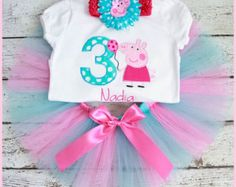 NEW Super Cute Peppa Pig Tutu Birthday set outfit Aqua and Pink