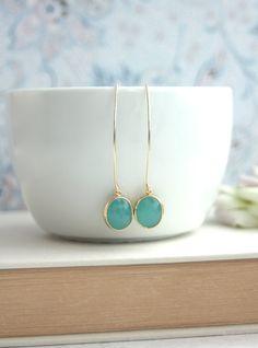 Gold Mint Opal Earrings. Marquise, Long Dangle Earrings. Bridesmaids Gifts. For Sister. Mint Garden Wedding. Green Opal Wedding. Bridal