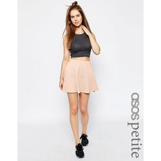 ASOS PETITE Skater Skirt in Texture ($24) ❤ liked on Polyvore featuring skirts, mini skirts, petite, pink, flared skirt, short mini skirts, high waisted skirts, pink skirt and circle skirt