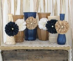 Vases,Hand Painted Flower Vases, upcycled flower vases, Rustic wedding centerpieces Shabby Chic, Navy Blue, Tan And Creme Wedding & some grey