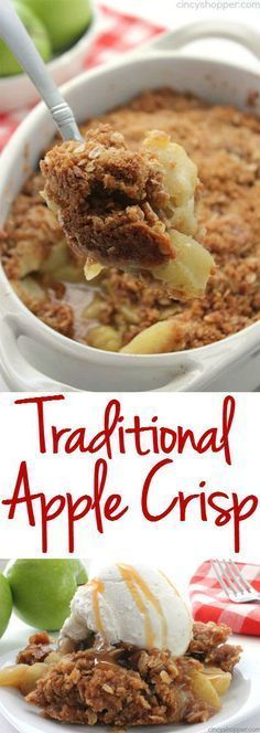 Traditional Apple Crisp -great family dessert this fall. Comfort food at its best. This Traditional Apple Crisp recipe will make for a great family dessert this fall. Apples topped with an oat streusel topping then baked, comfort food at Köstliche Desserts, Delicious Desserts, Dessert Recipes, Yummy Food, Autumn Desserts, Food Deserts, Dessert Food, Tasty, Traditional Apple Crisp Recipe