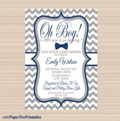 Little Man Baby Shower Digital Invitation, Grey and Navy Chevron Bow Tie on Etsy, $12.00