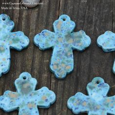 Pottery Cross Bead in Blue Caprice by CapturedMoments on Etsy