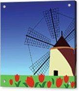 Holland Acrylic Print MarinaUsmanskayaFineArtDigitalArt, ArtForHome, FineArtPrints, Holland, Tulip, Mill