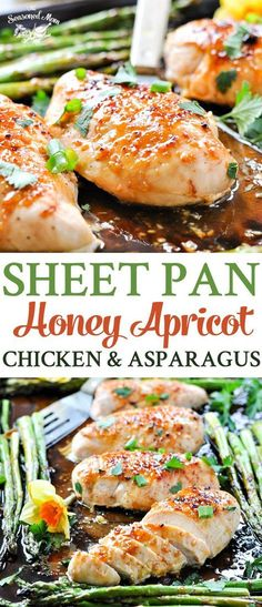 This Sheet Pan Honey Apricot Chicken and Asparagus is a healthy and fresh Spring dinner that cooks entirely on one tray! Easy and FAST!