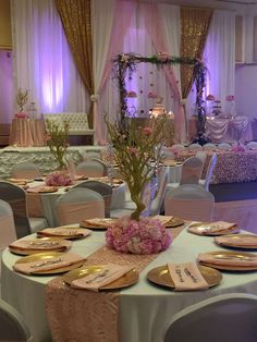 Pretty table at an In the Night Garden Quinceañera birthday party! See more party planning ideas at CatchMyParty.com!