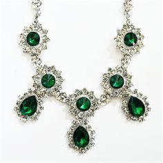 Shamelessly Sparkly ll Emerald Drop Necklace