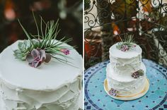 airplant topper, succulent wedding cake, textured wedding cake //  Catie Coyle Photography // Events by Satra // Pretty Please Bakeshop