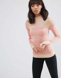 ASOS+Jumper+With+Turtle+Neck+in+Stripe+in+Soft+Yarn