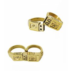Brass USB 2pc Ring Set, im a geek for stuff like this..