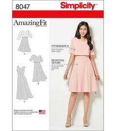 Simplicity Amazing Fit Misses Dress In Slim, Avg, Curvy Fit-14-16-18-20-22