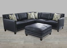 Sectional Blue Silver Nailheads Top Grain leather Ottoman : blue leather sectional couch - Sectionals, Sofas & Couches