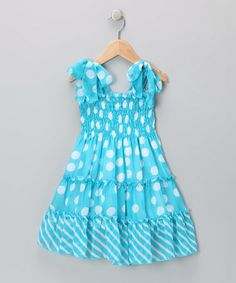 Take a look at this Blue Polka Dot Chiffon Dress - Toddler & Girls by Lele for Kids on #zulily today!