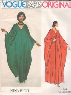 Vogue 1515 1970s Misses V Neck Evening CAFTAN and Underdress Paris Original Nina Ricci Designer womens vintage sewing pattern Pattern by mbchills