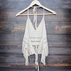 festival fringe crochet halter top in sand - shophearts - 3