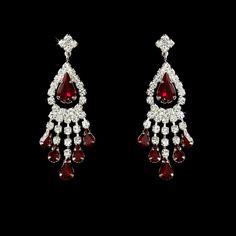 Red Rhinestone Earrings for Wedding or prom