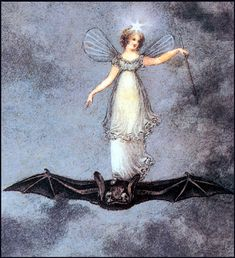 ≍ Nature's Fairy Nymphs ≍ magical elves, sprites, pixies and winged woodland faeries - Fairy Flying on Huge Bat