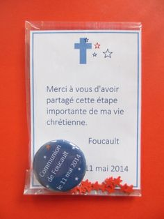 Remerciement aimant Communion Foucault Decoration Communion, Crafts For Kids, Arts And Crafts, First Communion, Christening, Religion, Invitations, Party, Confirmation