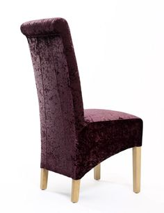 http://www.bonsoni.com/karas-crushed-velvet-grape-chair-pair-by-sherman   Karas Crushed Velvet Grape Chair (Pair) by Sherman is Add a luxurious touch with this amazing roll back dining chair upholstered in a luxurious crushed velvet fabric.  http://www.bonsoni.com/karas-crushed-velvet-grape-chair-pair-by-sherman