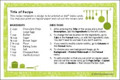 Recipe Cards for Word - Free download and software reviews - CNET Download.com