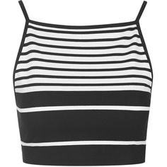 TOPSHOP Engineered Stripe Crop Top (22 PLN) ❤ liked on Polyvore featuring tops, crop tops, shirts, tank tops, white, patterned crop top, stripe crop top, crop shirt, striped shirt and strappy top