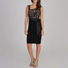 R & M Richards Women's Black Lace-inset Shutter Pleated Dress