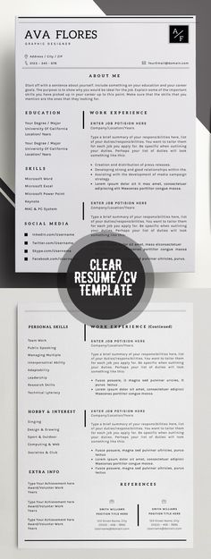 Clear Professional Resume: Personal Profile Contact info Social media accounts Skills/ expertise Experience Achievements References