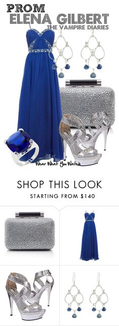 """""""The Vampire Diaries"""" by wearwhatyouwatch ❤ liked on Polyvore featuring Diane Von Furstenberg, Ruby Prom, Vanessa Jenik, Fantasy Jewelry Box, strappy sandals, cocktail rings, box clutches, cobalt blue, chandelier earrings and gown"""