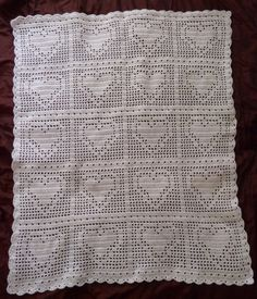Bordered Heart Crochet Filet Blanket