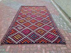 Pink and Orange Vintage Turkish Kilim Rug by KilimRugStore on Etsy