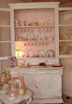 pink & white china cabinet, shabby chic