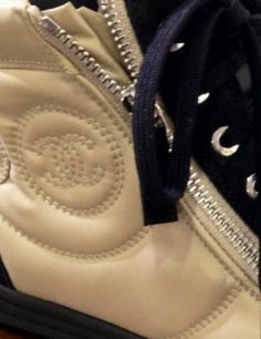CHANEL Leather and Suede Zipped Sneakers, Beige/Black