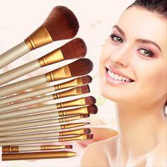 12 PCS Professional Wooden Cosmetics Makeup Brushes Set Brand Make Up Brushes Eyeshadow Eyeliner Lip Brush Tool Kit For Xmas #clothing,#shoes,#jewelry,#women,#men,#hats,#watches,#belts,#fashion,#style