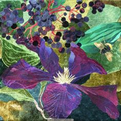 Clematis, Elder and Bumblebee; A rich indulgence of purples and black with golden-green light seeping through; the essence of autumn. By Amanda Richardson