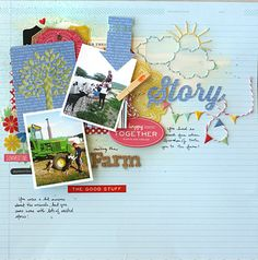 #papercraft #scrapbook #layout. love the sketch, layers, and colors (Leah Farquharson for American Crafts)