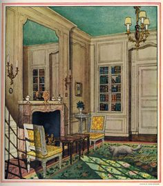 """Reception Room by Pierre Brissuad, from """"HOUSE & GARDEN'S COMPLETE GUIDE TO INTERIOR DECORATION, 1947 edition. Colored ceilings are hardly new."""