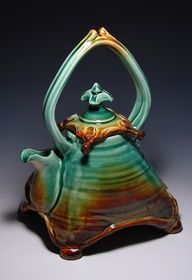 This is a really cool tea pot: a nice blending of turquoise and earth brown.