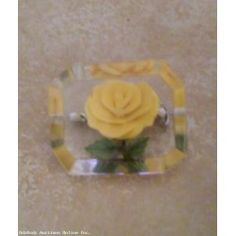 Vintage Lucite Reverse Carved Yellow Rose Brooch