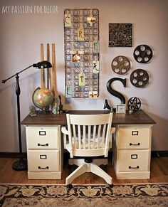 Inspired by Pottery Barn, two file cabinets with a wood top