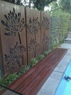 decking, corten steel screen, paving, prahran