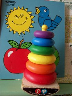 Fisher-Price ring stacker and puzzle--my children had both of these! Jouets Fisher Price, Fisher Price Toys, Vintage Fisher Price, My Childhood Memories, Childhood Toys, Great Memories, Retro Toys, Vintage Toys, Vintage Candy