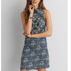 AE Bohemian Dress New! I just purchased this and wore it one time... I decided the high neck isn't my thing. The pattern is so beautiful! American Eagle Outfitters Dresses