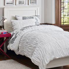 White Ruched Essential Duvet Value Bedding Set, Light Grey Floral Dot | PBteen
