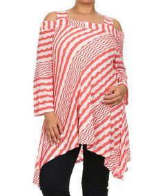 Loving this Come N See White & Coral Zigzag Cutout Tunic - Plus on #zulily! #zulilyfinds