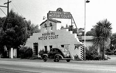 The Mission Bell Motel as it looked in 1939 Ventura, California. California History, California Homes, Southern California, Vintage California, Ventura County California, Mission Bell, Newbury Park, Los Angeles California, Beach Town