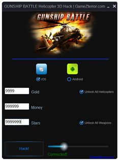 GUNSHIP BATTLE Helicopter 3D Hack http://gamezterror.com/gunship-battle-helicopter-3d-hack-tool-ios-android-cheats/