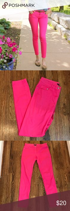 H&M Hot Pink Skinny Jeans H&M hot pink skinny jeans. Waist is 15.5 across laying flat, rise is 9, inseam is 31, leg opening is 11 around. Covershot from The Classy Turtle blog. Open to offers and 30% off bundles! H&M Jeans Skinny