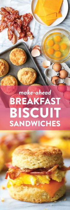 Make Ahead Breakfast Biscuit Sandwiches - Oh-so-warm, flaky buttermilk biscuits with eggs, bacon and cheese. Store in the fridge and reheat in the morning! Breakfast Biscuits, Breakfast Casserole, Easy Brunch Recipes, Breakfast Recipes, Savoury Recipes, Savory Snacks, Bread Recipes, Buttery Biscuits, Buttermilk Biscuits