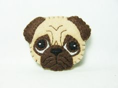 Pug Brooch / Cute Dog Felt Brooch / Felt Dog Pin / by hanaletters
