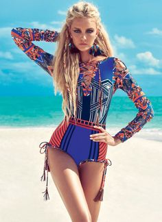 """Get in summer mood with model Caroline Trentini in the editorial """"Esporte Tribal"""" for Vogue Brazil November 2015 by photographer JR Duran. Foto Fashion, Tribal Fashion, High Fashion, Beach Fashion, Jr Duran, Estilo Tribal, Caroline Trentini, Swimsuits, Bikinis"""